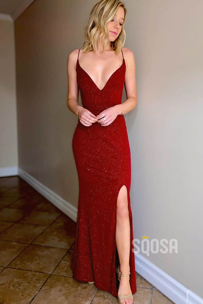 Sheath/Column Prom Dress Spaghetti Straps V-neck Burgundy Sparkle Formal Evening Gowns QP2136|SQOSA