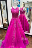 A-line Scoop Fuchsia Tulle Appliques Long Prom Dress QP2145|SQOSA