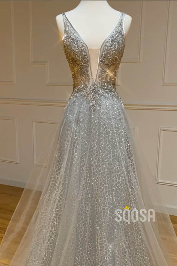 A-line Silver Sequins Tulle Beaded Long Prom Dress Pageant Dress QP2152|SQOSA