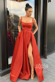 A-line Scoop Spaghetti Straps Red Satin High Split Long Prom Dress with Pockets QP2155|SQOSA