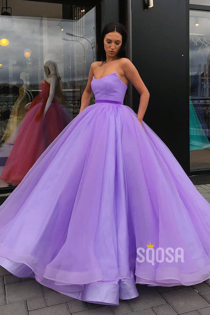 Ball Gown Strapless Long Prom Dress with Pockets Formal Evening Gowns QP2158|SQOSA