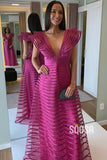 A-line Chic Cap Sleeves V-neck Fuchsia Long Formal Evening Dress QP2361|SQOSA