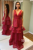 A-line Burgundy Tulle Tiered V-neck Long Formal Evening Dress QP2366|SQOSA