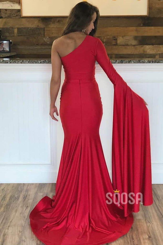 Unique Bat Sleeves Red Stretch Satin Two Piece Prom Dress Pageant Dress QP2169|SQOSA