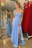 A-line Blue Chiffon Double Straps High Split Long Prom Dress Pageant Dress QP2374|SQOSA
