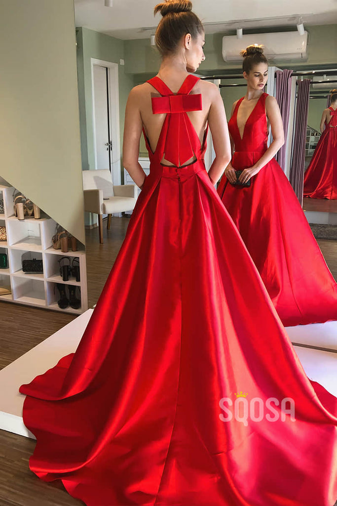 A-Line Red Satin Attractive V Neck Long Prom Dress with Pockets Formal Evening Gowns QP2175|SQOSA