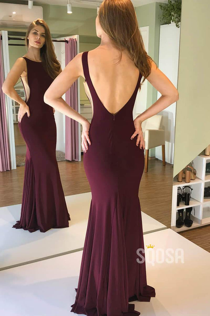 Mermaid/Trumpet Prom Dress Burgundy Stretch Satin Formal Evening Gowns QP2176|SQOSA