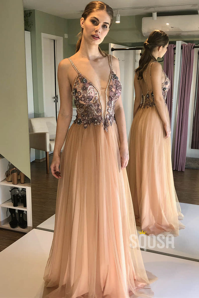 A-line Tulle Beads Spaghetti Straps Long Prom Dress Formal Evening Gowns QP2177|SQOSA