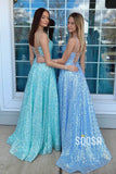A-line Spaghetti Straps Sequins Sparkle Prom Dress with Pockets QP2377|SQOSA