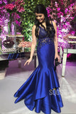 Royal Blue Satin Beaded Attractive V-neck Mermaid Formal Evening Dress QP2183