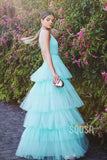 A-line Attractive V-neck Tulle Tiered Long Prom Dress Formal Evening Gowns QP2184|SQOSA