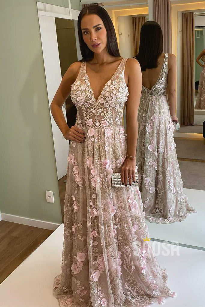 A-line V-neck Luxury Lace Appliques Long Formal Evening Gowns Prom Dress QP2185|SQOSA