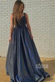 A-line Attractive V-neck Beaded Sparkle Prom Dress Glitter QP2187|SQOSA