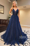 A-line Navy Blue Tulle Beaded Spaghetti Straps Long Prom Dress QP2190|SQOSA