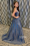 A-line Attractive V-neck Sparkle Prom Dress with Pockets QP2199|SQOSA