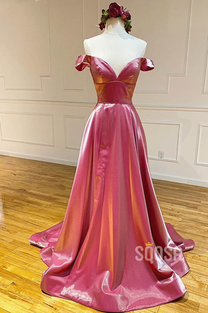 A-line Chic Off-the-Shoulder Long Senior Prom Dress Pageant Dress QP2202|SQOSA