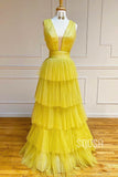 A-line Yellow Tulle Tiered Attractive V-neck Long Prom Dress Pageant Dress QP2204|SQOSA