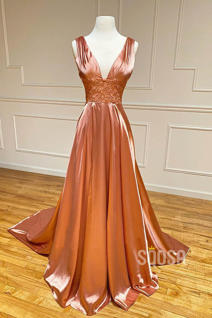 A-line Attractive V-neck Appliques Long Simple Prom Dress Formal Evening Gowns QP2205|SQOSA