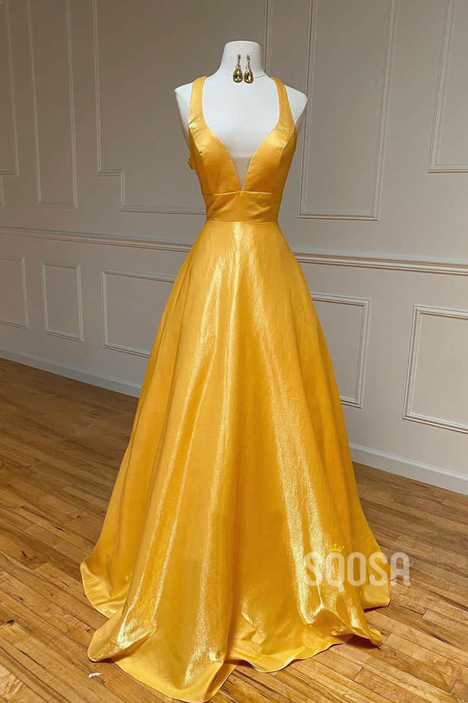 A-line V-neck Yellow Satin Long Simple Prom Dress Pageant Dress QP2207|SQOSA