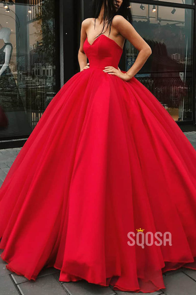 Ball Gown Red Tulle V-neck Long Prom Dress Formal Evening Gowns QP2210|SQOSA