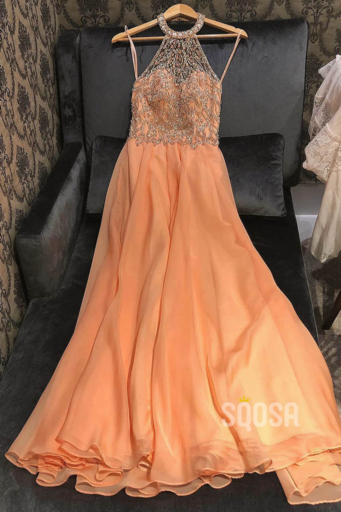 A-line Halter Chiffon Beaded Long Prom Dress Formal Evening Gowns QP2212|SQOSA
