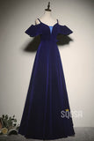 A-line Off-the-Shoulder Royal Blue Velvet Long Formal Evening Gowns Pageant Dress QP2214|SQOSA