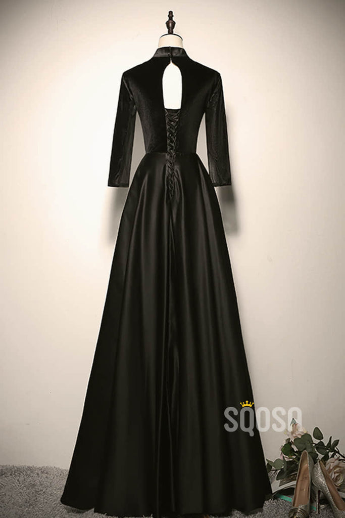 A-line Chic High Neck Long Sleeves Black Satin Long Prom Dress Formal Evening Gowns QP2219|SQOSA