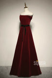 A-line Chic Strapless Burgundy Velvet Long Prom Dress Pageant Dress QP2226|SQOSA