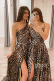 A-line Leopard Print Long Senior Prom Dress with Slit Formal Evening Gowns QP2230
