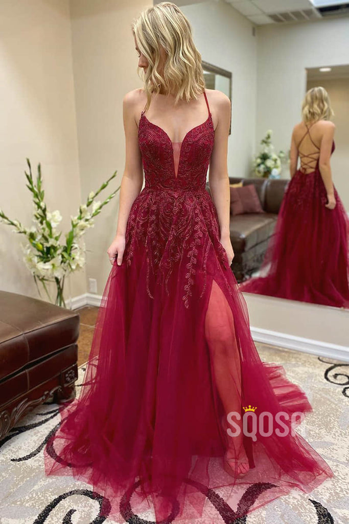 A-line Burgundy Tulle Appliques Long Prom Dress with Slit Pageant Dress QP2245|SQOSA