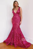 Mermaid Prom Dress Attractive V-neck Sequins Pageant Dress QP2248|SQOSA