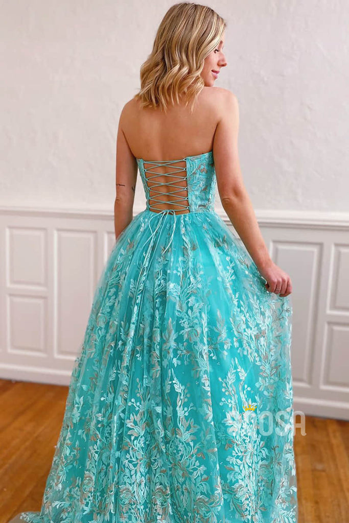 A-line Strapless Blue Exquisite Lace Prom Dress Pageant Dress QP2249|SQOSA