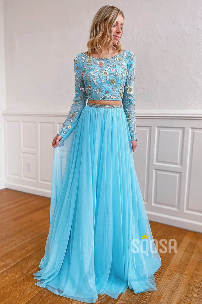 A-line Unique Scoop Embroidery Long Sleeves Two Piece Prom Dress QP2251
