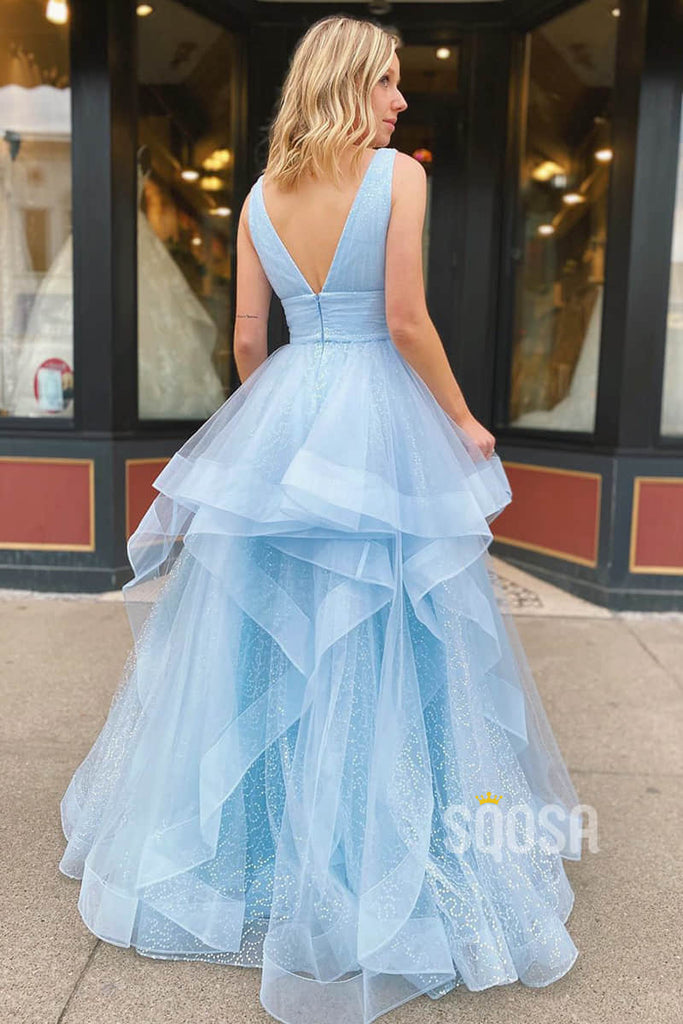A-line Sky Blue Tulle V-neck Sparkle Prom Dress Pageant Dress QP2253|SQOSA