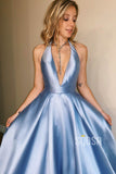 A-line Chic Halter Blue Satin Long Simple Prom Dress Backless QP2254|SQOSA