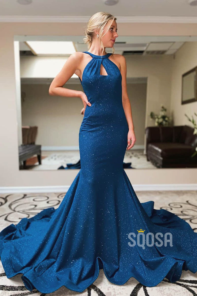 Mermaid Prom Dress Chic Bateau Royal Blue Sparkly Pageant Dress Backless QP2259|SQOSA