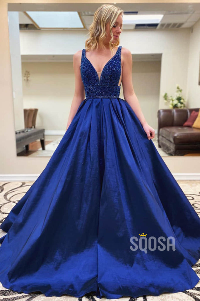 A-line Royal Blue Satin Beaded Long Prom Dress Pageant Dress QP2261|SQOSA