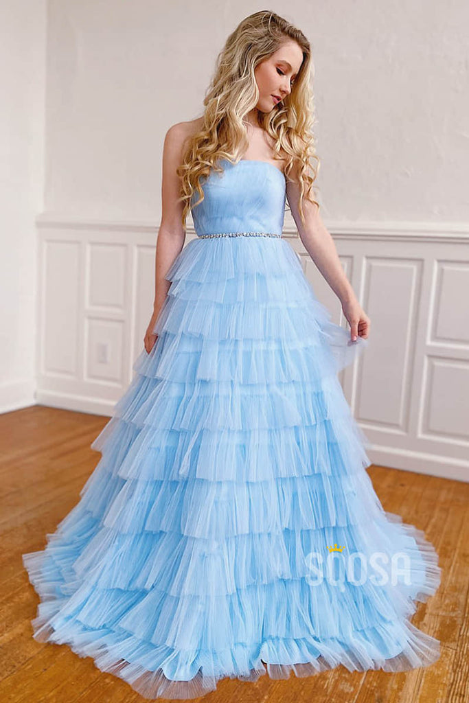 A-line Sky Blue Tulle Chic Strapless Tiered Long Prom Dress Pageant Dress QP2265|SQOSA