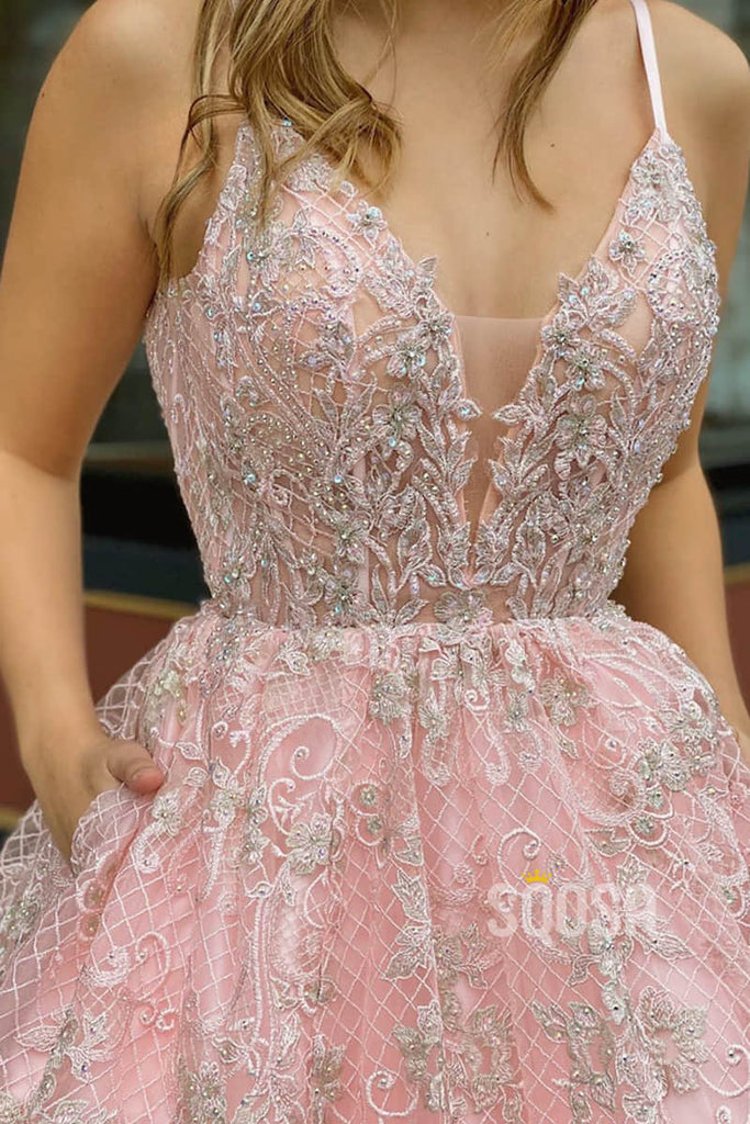 A-line Spaghetti Straps V-neck Pink Lace Appliques Long Senior Prom Dress Pageant Dress QP2266|SQOSA