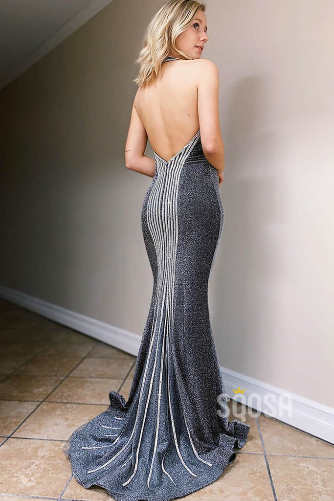 Mermaid Prom Dress Unique Halter Formal Evening Dress Backless QP2267|SQOSA