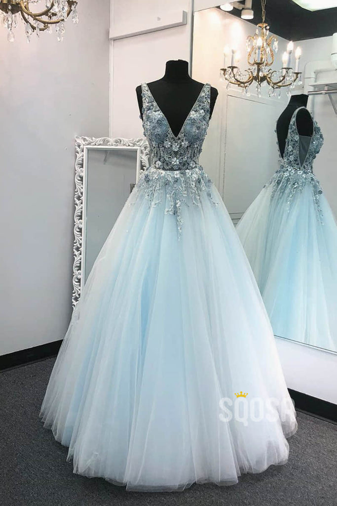 A-line Sky Blue Tulle Appliques Beadings Long Prom Dress Pageant Dress QP2271|SQOSA