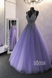 A-line Purple Tulle Beaded Long Prom Dress Formal Evening Gowns QP2272|SQOSA