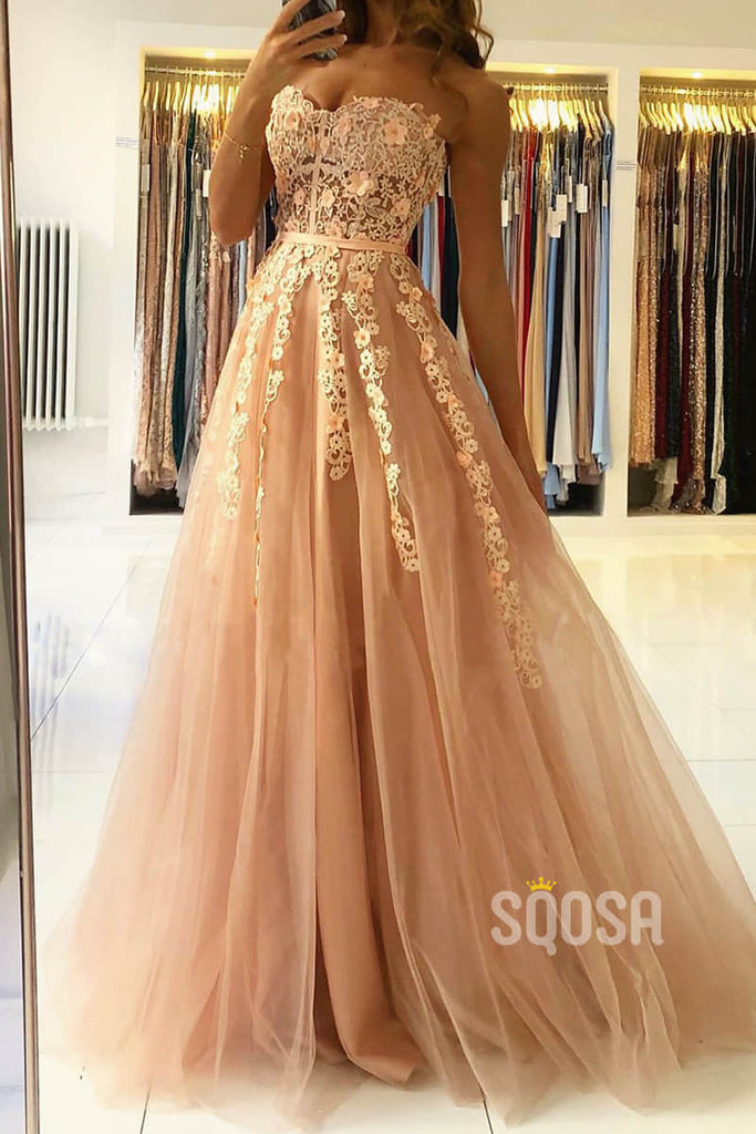 A-line Sweetheart Chic Lace Appliques Long Prom Dress Formal Evening Gowns QP2275|SQOSA