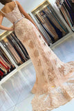 Mermaid Spaghetti Straps Dusty Pink Tulle Appliques Long Formal Evening Dress QP2278|SQOSA