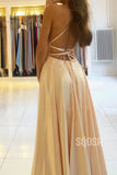 A-line Scoop Stretch Satin High Split Long Simple Prom Dress Formal Evening Gowns QP2279