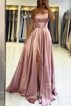 A-line Scoop Stretch Satin High Split Long Simple Prom Dress Formal Evening Gowns QP2279|SQOSA