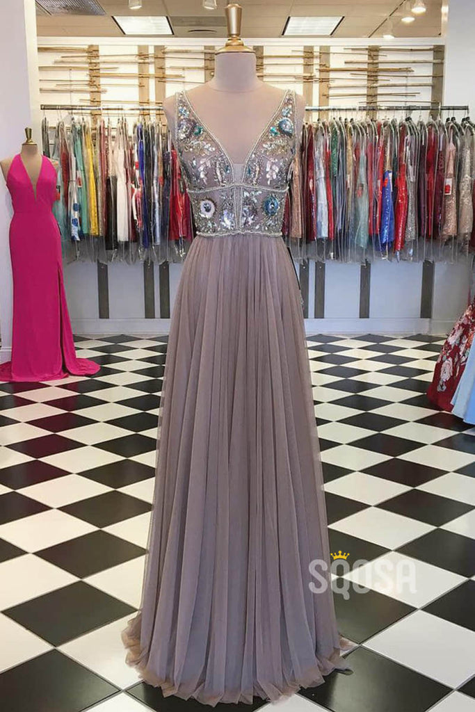 A-line V-neck Tulle Beaded Long Prom Dress Formal Evening Gowns QP2282|SQOSA