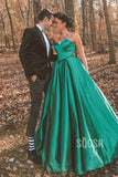 A-line Sweetheart Green Satin Long Prom Dress Formal Evening Gowns QP2285|SQOSA