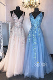 A-line V-neck Tulle Appliques Long Senior Prom Dress Pageant Dress QP2287|SQOSA