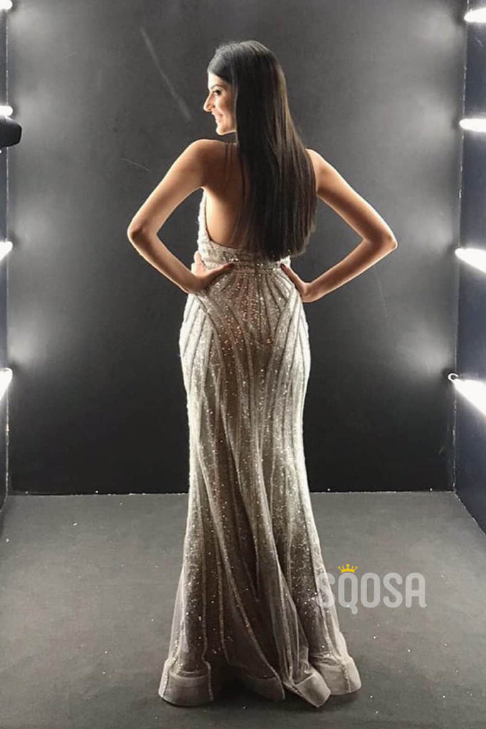 Chic Halter V-neck Sparkle Mermaid Prom Dress Formal Evening Gowns QP2291|SQOSA